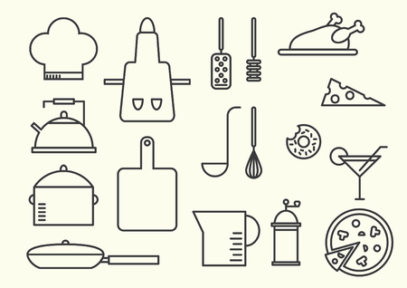 Kitchen utensils icons, thin line style, flat design Vectores