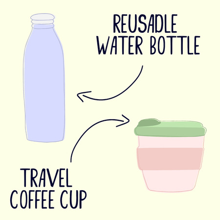 Hand drawn zero waste objects. Reusable water bottle and travel coffee cup. Vector illustration. Zero waste concept. Eco style
