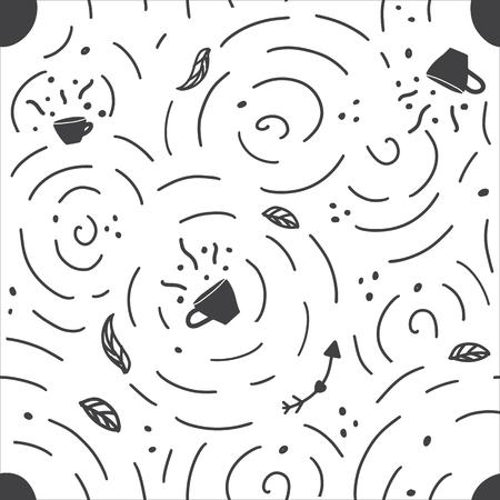 Modèle sans couture avec tasse de café et de thé dessinée à la main. Illustration vectorielle monochrome de Doodle. Vecteurs
