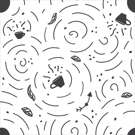 Seamless pattern with handdrawn coffee and tea cup. Doodle monochrome vector illustration.