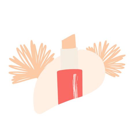 Lipstick illustration, eco cosmetics. Vector hand drawn illustration for natural eco cosmetics store.