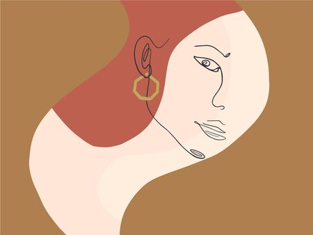 Abstract creative composition with one continuous line lady portrait on bright background. Woman face in minimal style.