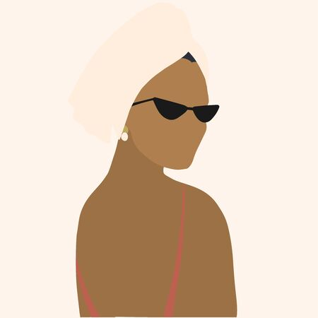 Abstract female portrait. Social distancing during quarantine. Stay home. Quarantine and self isolation. Woman with a towel on her head wearing sunglasses.