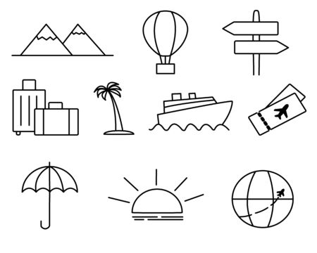 Travel icons set.Vector map air Illustration