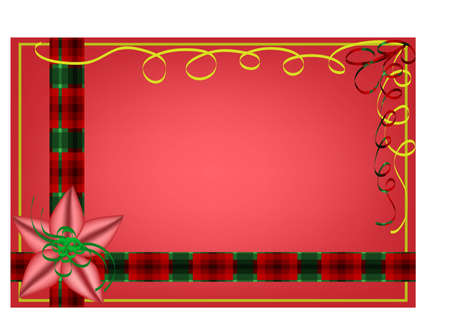 Christmas holiday background with red and green plaid ribbon