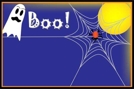 Halloween achtergrond met spook, spin en spinnenweb Stock Illustratie