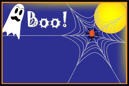 Halloween background with ghost, spider and spider web