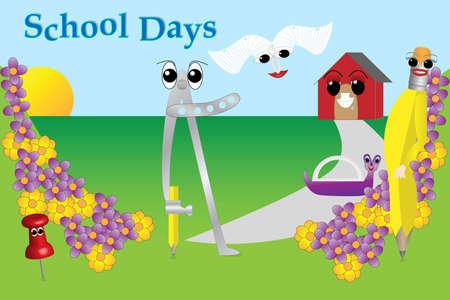School supply characters Illustration