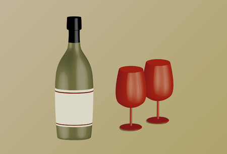 Wine bottle and wine goblets