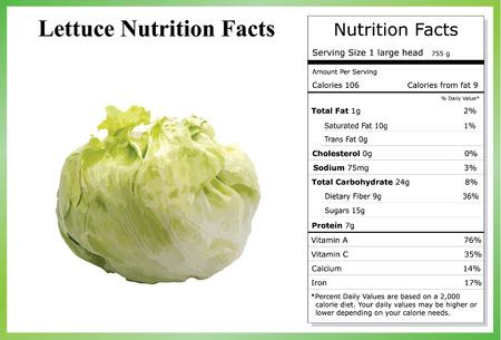 Lettuce Nutrition Facts Иллюстрация