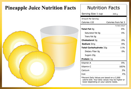 pineapple juice: Pineapple Juice Nutrition Facts Illustration