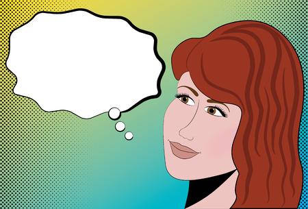 Retro comic book style female head with talk bubble and halftone dots