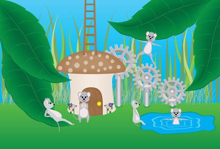 Mouse and Mushroom Cartoon Illustration