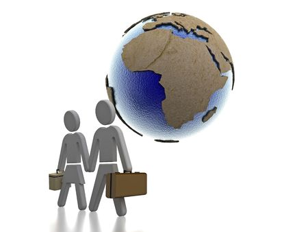 immigrate: 3D render of a couple going on holiday to Africa