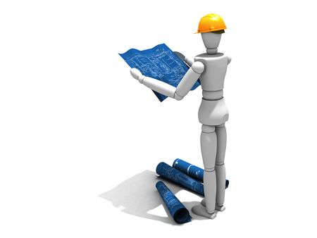 Quality 3D render of a model reading the blueprints on a construction site Stock Photo - 3653907