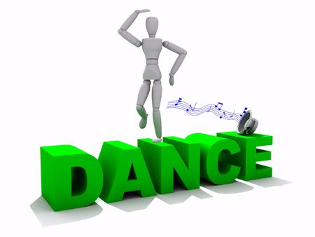 3d dance: Quality 3D render of a model dancing ontop of the word dance Stock Photo