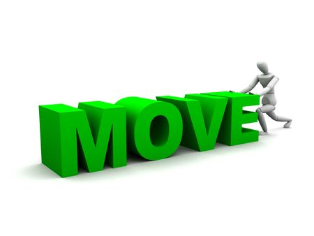 verb: 3D render of a human figure pushing the word move.