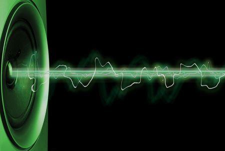 geluid: Abstract muziek van een luidspreker weergegeven. XXL. Stockfoto