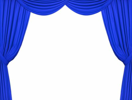 Large blue theatre curtains on a white background Stock Photo