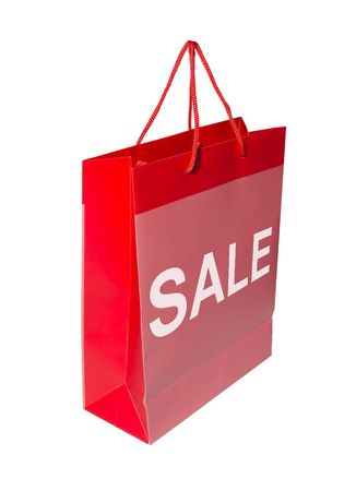 marked down: A red shopping bag with the word SALE on it