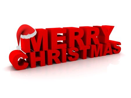 text 3d: The words Merry Christmas and a christmas hat. Stock Photo