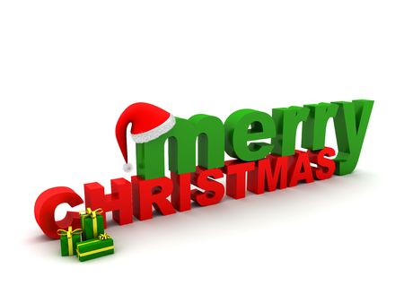 text 3d: The words Merry Christmas, a christmas hat and some presents. XXL