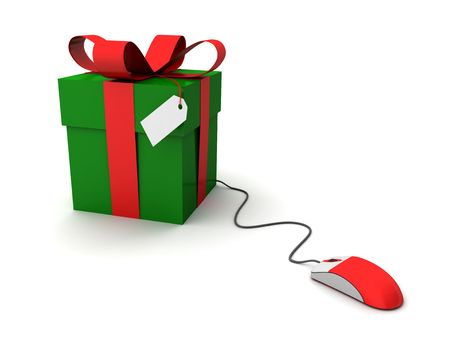 Computer generated gift box with mouse. Online shopping concept. XXL photo