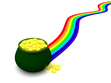 end of rainbow: XXL render of a pot of gold at the end of a rainbow. Can be used for St. Patricks Day, Wealth and Luck themes. Stock Photo