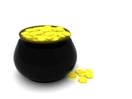 dat: XXL rendere di un nero pentola riempita con monete d'oro. Perfetto per l'uso in St. Patricks Dat, la ricchezza e la fortuna temi