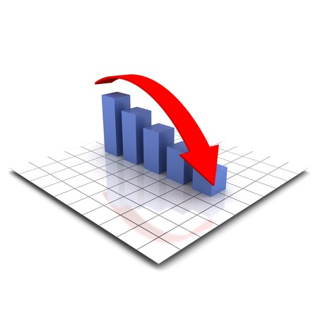 XXL 3D render of a bar graph with a falling red arrow photo