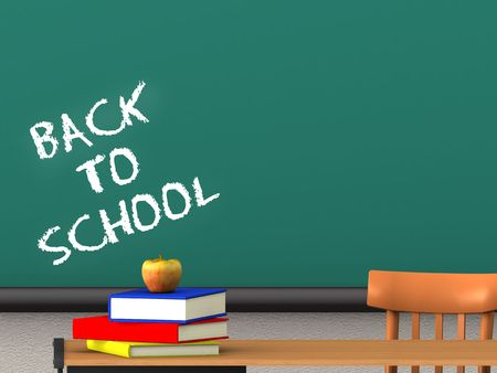 XXL rendered image of the words back to school written on a blackboard in a classroom. Books and an apple on the desk. Stock Photo - 4752677
