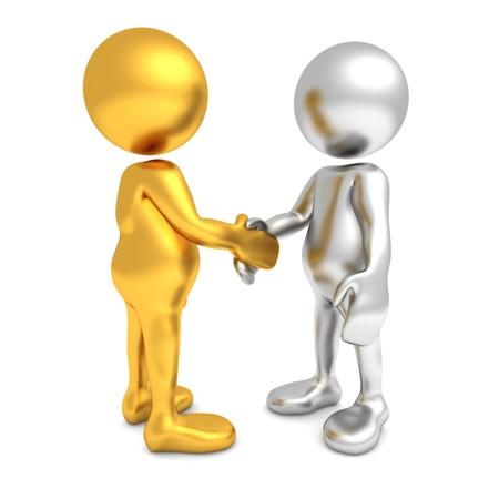 Tres dimensiones de procesamiento de dos figuras humanas de dibujos animados, agitando las manos. Una de las figuras es de oro y la otra es plata en color. Foto de archivo - 7102591
