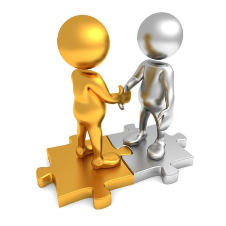 hands joined: Three dimensional render of two cartoon human figures, shaking hands while standing on puzzle pieces. One figure is golden and the other is silver in color.