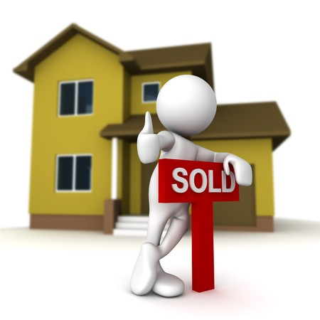 Three dimensional render of a cartoon human figure, standing over a SOLD sign, with a home in the background. photo