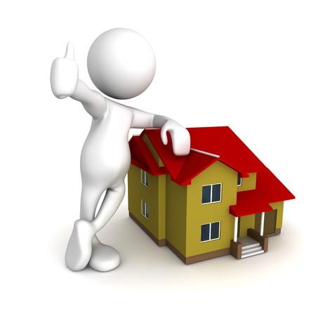 apartment market: Tres dimensiones de procesamiento de una figura humana de dibujos animados, en pie sobre una casa. Conceptual para inmobiliarias
