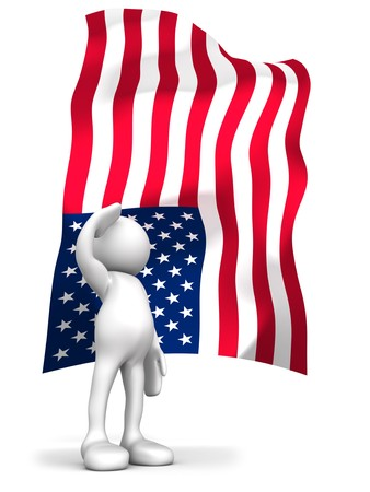 allegiance: Three dimensional render of a cartoon human figure, saluting with the American flag in the background. 4th of July celebrations