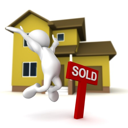 Three dimensional render of a cartoon human figure, jumping for joy next to a SOLD sign, with a home in the background. photo
