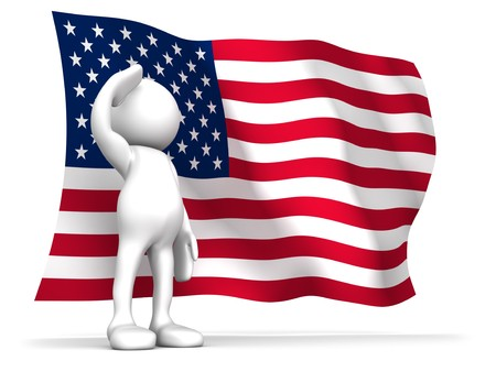 pledge of allegiance: Three dimensional render of a cartoon human figure, saluting with the American flag in the background. 4th of July celebrations