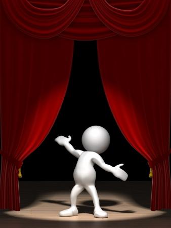 Drie dimensionale weer gegeven van een menselijk figuur van cartoon, staande op een podium in de schijnwerpers met rode fluwelen gordijnen.  Stockfoto