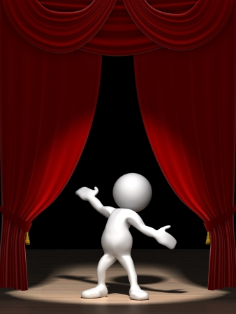 show: Three dimensional render of a cartoon human figure, standing on a stage in the spotlight with red velvet curtains.