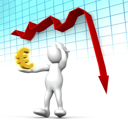 failing: Three dimensional render of a cartoon human figure, holding his head while a graph shows the Euro in rapi decline. Conceptual image for failing economy. Stock Photo