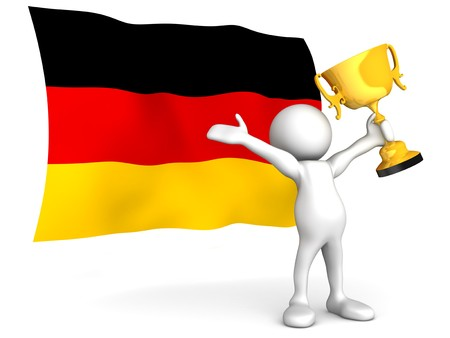 Three dimensional render of a cartoon human figure, holding a trophy aloft in celebration, in front of the flag of Germany. Isolated on white. photo