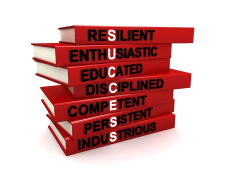 character traits: Three dimensional render of a pile of books. The titles of these books are the character traits of successful people. Concept for success.