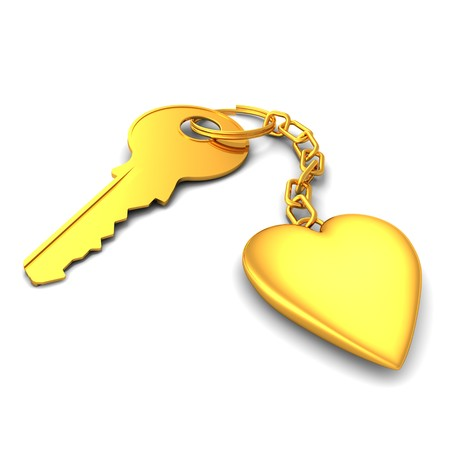 3D render of a shiny golden key and heart on keyring photo