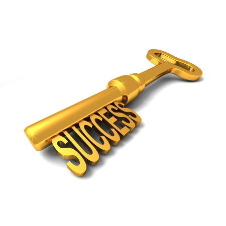 key success: 3D render of shiny golden key with the word SUCCESS