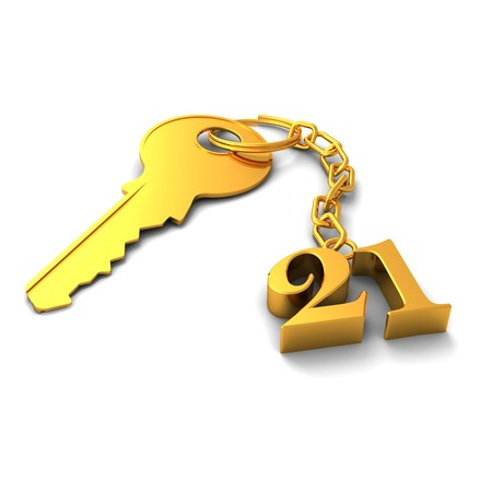 keyring: 3D render of a shiny golden key and number twenty-one on keyring