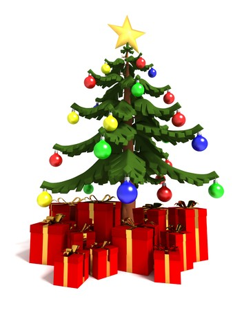 Three dimensional render of a decorated Christmas tree surrounded by gifts Stock Photo - 7750493