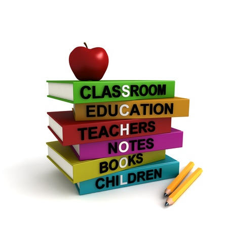 Three dimensional render of different colored books with the word SCHOOL highlighted. Concept image for back to school. Please see other similar images in my portfolio. photo