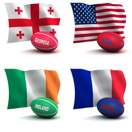 irish flag: 3D Render of 4 of the 20 participating nations in the rugby world cup. Ball colors depict the colors that the team usually wears. Georgia, USA, Ireland, France - see other images for remainder of teams
