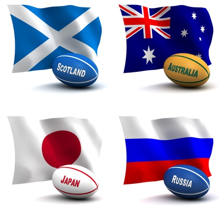 rugby team: 3D Render of 4 of the 20 participating nations in the rugby world cup. Ball colors depict the colors that the team usually wears. Australia, Japan, Russia, Scotland - see other images for remainder of teams